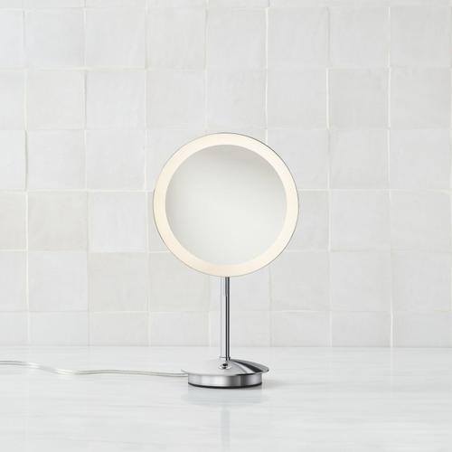 Freestanding Lighted Magnification Mirror In Chrome Features 5x Magnification, A Power Cord, and Selectable Color Temperature for Soft White (3000k) or Cool White (5000k) Lighting. Tilt Up or Down for the Perfect Angle.