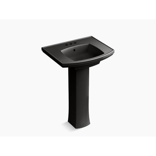 "Black Black Pedestal Bathroom Sink With 4"" Centerset Faucet Holes"
