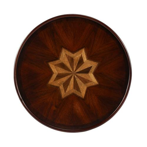 Selected solid woods and choice cherry veneers. Maple, walnut and cherry veneers inlay design top.