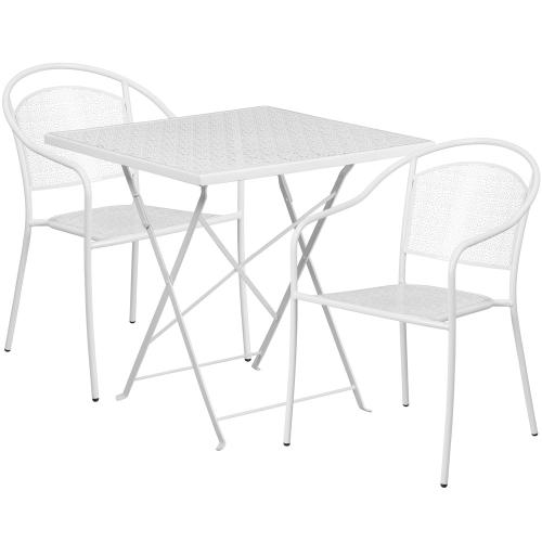 28'' Square White Indoor-Outdoor Steel Folding Patio Table Set with 2 Round Back Chairs