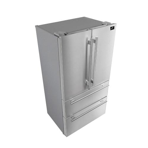 """Forno - Moena - Trim Kit to 40"""" with a 36"""" French Door Counter Depth Refrigerator 19cu.ft SS color, with Professional handle and decorative grill allowing ventilation"""