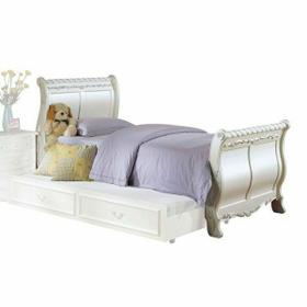 ACME Pearl Twin Bed (Sleigh) - 01010T - Pearl White & Gold Brush Accent