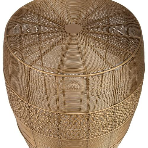 The open weave of Renwick Iron Cage Bunching Table brings a new sense of dimension to your room. Its compact, round shape wrapped in gold iron wire adds a modern twist to this convenient storage spot.