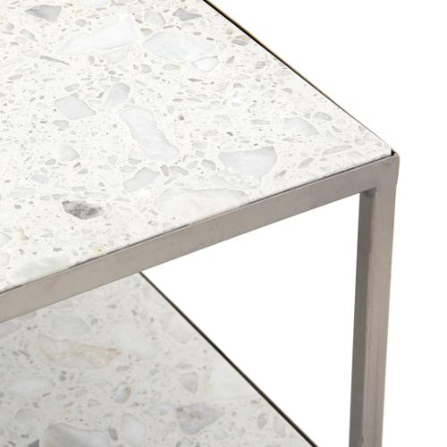 Antique Pewter Finish Amabella Terrazzo Nightstand