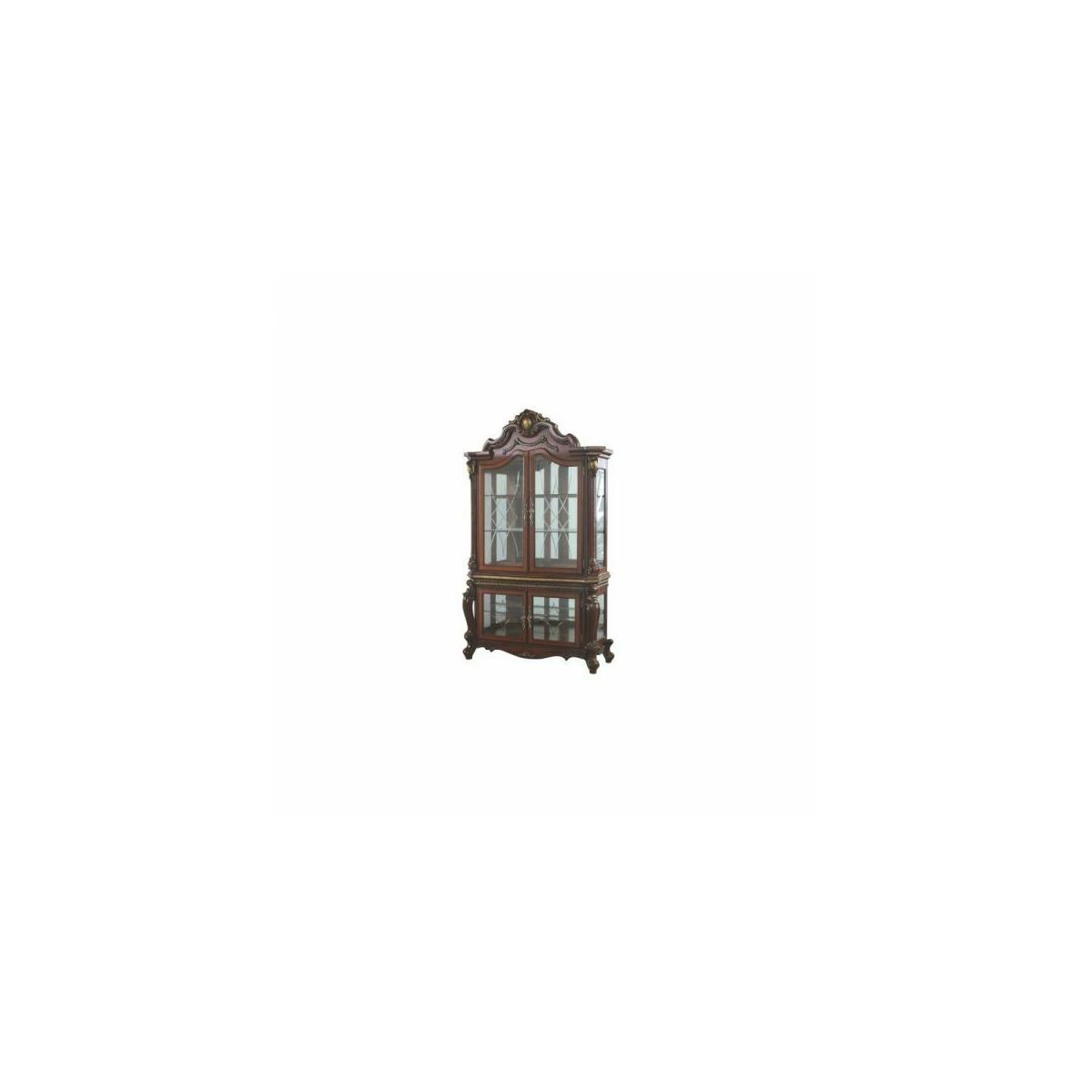 ACME Picardy Curio Cabinet - 68229 - Traditional, Vintage - Wood (Rbw), Wood Veneer (Cherry), Poly-Resin (Fiberglass), Glass, Mirror - Cherry Oak