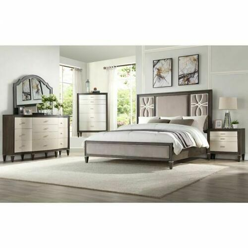 ACME Peregrine Queen Bed - 28010Q - Fabric & Walnut