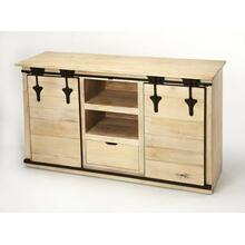 View Product - Update your entertainment ensemble with this Rustic, solid Mango wood, on-trend TV stand. Two sliding barn cabinet doors open to reveal out-of-sight storage space for DVDs, books, or video games, while two open shelves and a single drawer top provide a place for your storage needs. It is multi-functional and can be used as a dining server, hallway piece, or an office credenza.