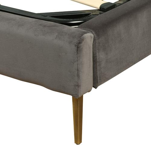 Four Hands - King Size Grey Velvet Cover Rennie Bed
