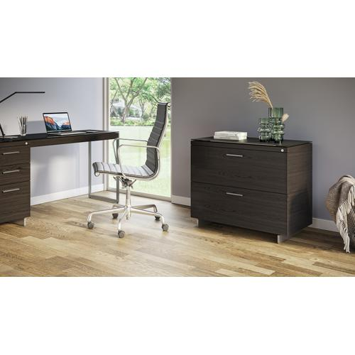 BDI Furniture - Sequel 20 6116 Lateral File Cabinet in Charcoal Satin Nickel