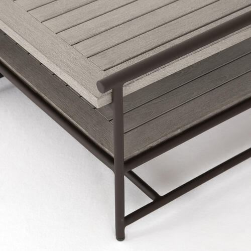Weathered Grey Finish Ledger Outdoor Coffee Table