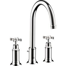 Chrome Widespread Faucet 180 with Cross Handles and Pop-Up Drain, 1.2 GPM