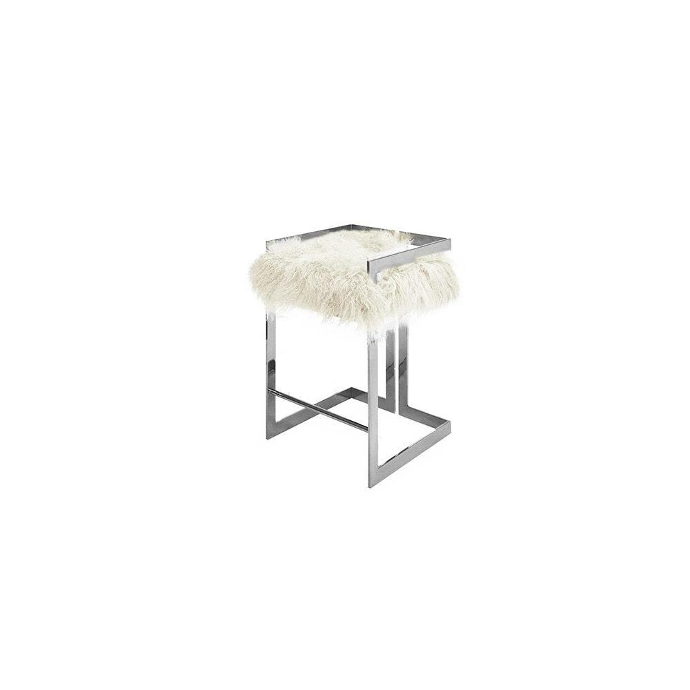 Our Emmett Counter Height Stool Is So Arresting, You'll Want To Design the Entire Room Around It! A Luxe White Mongolian Fur Cushion Sits Atop A Perfectly Symmetric Polished Nickel Base, Creating an Undeniably Stylish and Modern Silhouette.
