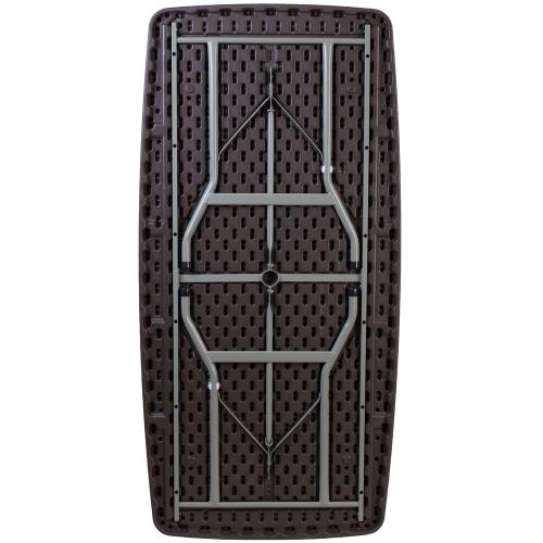 32.5''W x 67.5''L Brown Rattan Plastic Folding Table
