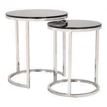 Rem Set Of 2 Coffee Tables Black & Stainless Steel