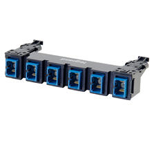 See Details - HDJ Series 6 SC to SC Simplex Fiber Adapter Panel, 6-Fiber OS2 - Blue