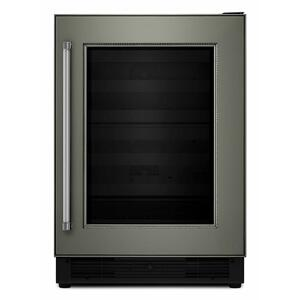 """KitchenAid24"""" Panel Ready Wine Cellar with Glass Door and Wood-Front Racks - Panel Ready PA"""
