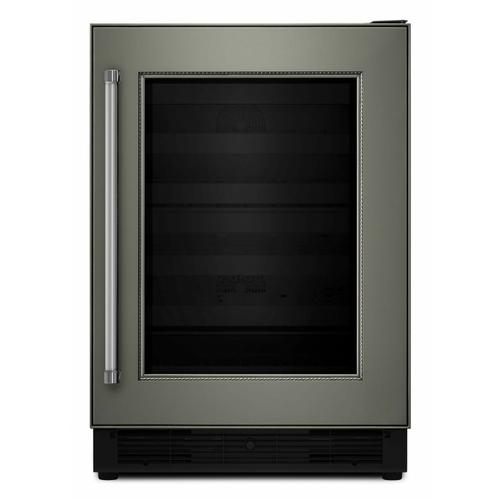 """KitchenAid - 24"""" Panel Ready Wine Cellar with Glass Door and Wood-Front Racks - Panel Ready PA"""