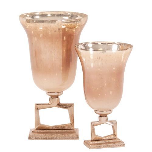 Howard Elliott - Antiqued Apricot Glass Footed Vase on Champagne Gold Metal Base, Large