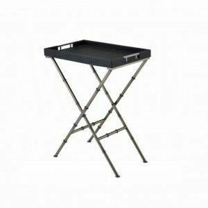 ACME Lajos Tray Table - 98278 - Black Weave & Antique Gold