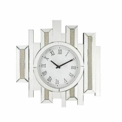 ACME Lavina Wall Clock - 97728 - Glam - Mirror, Glass, MDF, Faux Diamonds (Acrylic) - Mirrored and Faux Diamonds