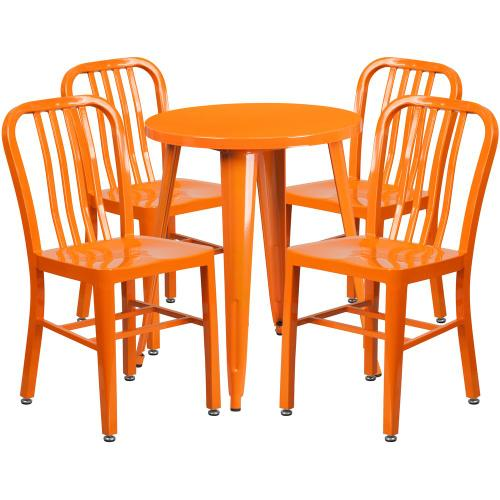24'' Round Orange Metal Indoor-Outdoor Table Set with 4 Vertical Slat Back Chairs
