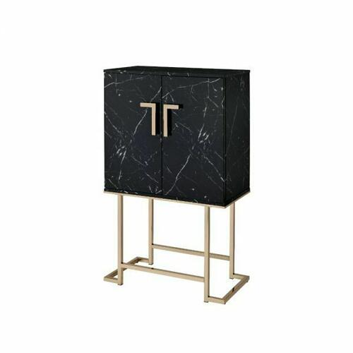 ACME Hendrix Wine Cabinet - 97295 - Contemporary - Metal Tube, Paper Veneer, MDF - Black Faux Marble and Champagne