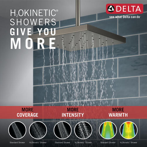 Black Stainless H 2 Okinetic ® Single Setting Shower Head with UltraSoak