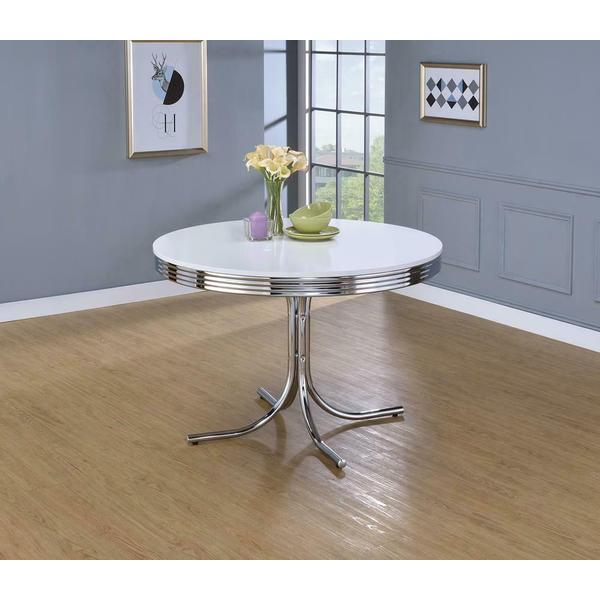 See Details - Retro White and Chrome Dining Table