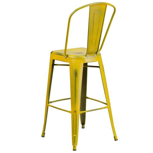 30'' High Distressed Yellow Metal Indoor-Outdoor Barstool with Back