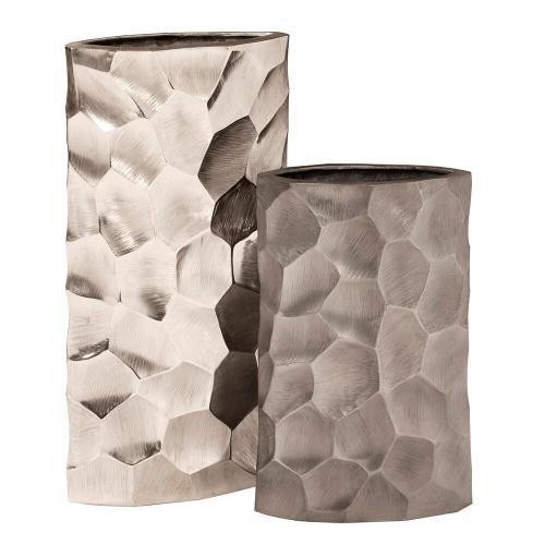 Howard Elliott - Hammered Aluminum Oval Vase Bright Silver, Large
