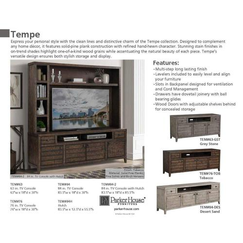 TEMPE - GREY STONE 84 in. TV Console with Hutch and Back Panel