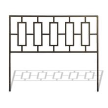 Miami Metal Headboard Panel with Geometric Designed Grill and Squared Tubing, Coffee Finish, King