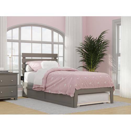 Atlantic Furniture - Oxford Twin Extra Long Bed with USB Turbo Charger and Twin Extra Long Trundle in Grey