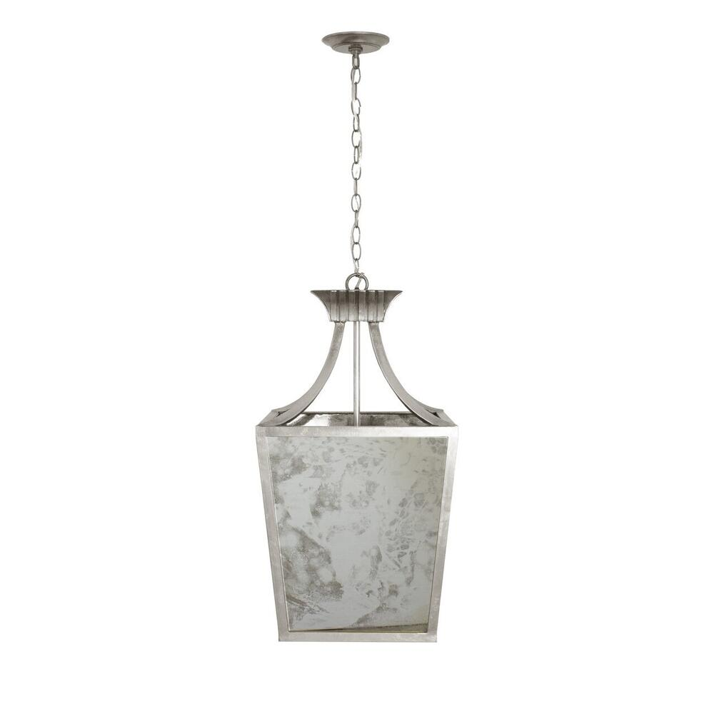 Add A Touch of Old Hollywood Glamour With the Alister Antique Mirror Lantern. Finished In Silver Leaf and With (3) Feet of Matching Chain, This Stunning Pendant Adds Sparkle To Any Room.