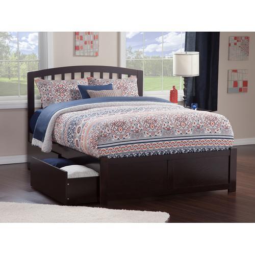 Atlantic Furniture - Richmond Full Flat Panel Foot Board with 2 Urban Bed Drawers Espresso