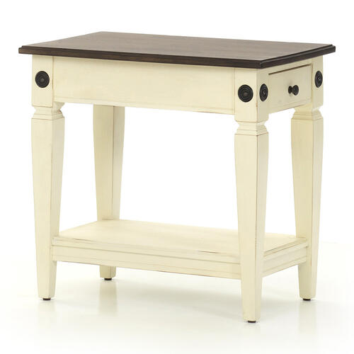 Glennwood Chairside Table  White & Charcoal