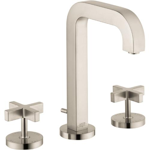 AXOR - Brushed Nickel Widespread Faucet 170 with Cross Handles and Pop-Up Drain, 1.2 GPM