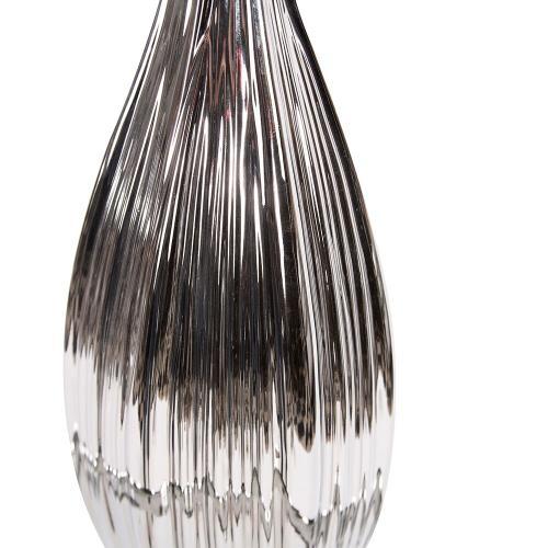Howard Elliott - Metallic Silver Ribbed Ceramic Bottle Vase, Tall