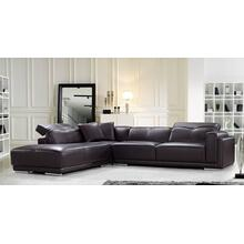 See Details - Divani Casa Adagio Modern Brown Leather Sectional Sofa