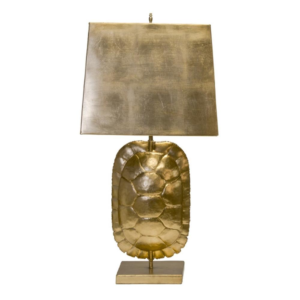Gather Around the Warm Glow of the Striking Cecile Gold Leaf Tortoise Shell Lamp. Perfectly Paired With A Rectangular Metal Shade In Coordinating Brushed Gold FINISH.