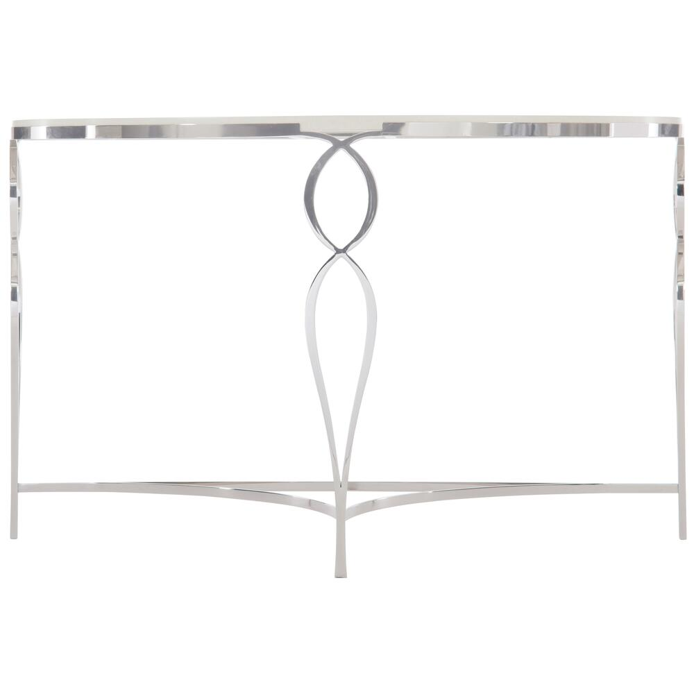 Calista Metal Demilune Console Table in Silken Pearl (388)