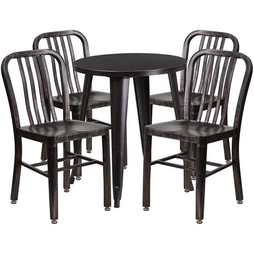 24'' Round Black-Antique Gold Metal Indoor-Outdoor Table Set with 4 Vertical Slat Back Chairs