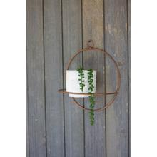 See Details - white washed clay pot with copper finish circular wall sconce