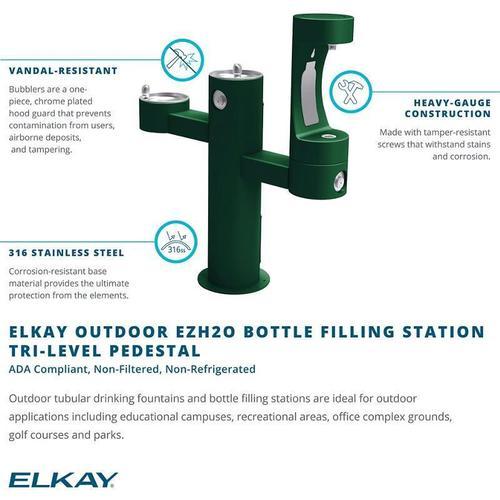 Elkay - Elkay Outdoor EZH2O Bottle Filling Station Tri-Level Pedestal, Non-Filtered Non-Refrigerated Evergreen