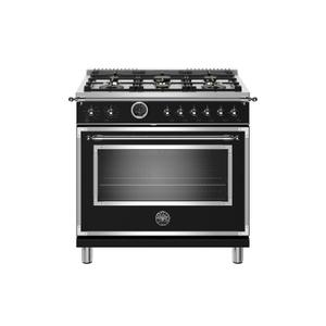 BERTAZZONI36 inch Dual Fuel Range, 6 Brass Burner, Electric Self-Clean Oven Nero Matt
