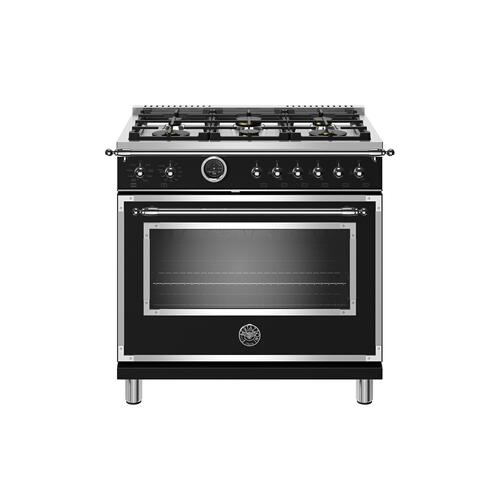36 inch Dual Fuel Range, 6 Brass Burner, Electric Self-Clean Oven Matt Black