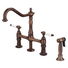 Product Image - Emral Kitchen Bridge Faucet with Porcelain Lever Handles - Oil Rubbed Bronze