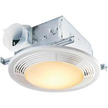 100 CFM Fan/Light with Glass Lens and White Polymeric Grille; 100-watt Incandescent Lighting and 7-watt Nightlight