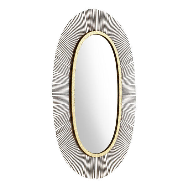 Juju Oval Mirror Black & Gold