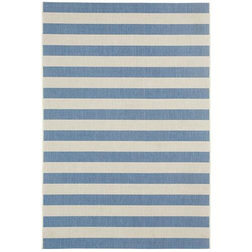 Finesse-Stripe Capri Blue Machine Woven Rugs